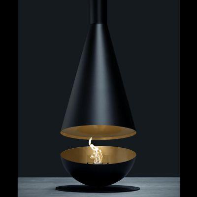 Glamm Fire, Stand-Hängekamin Bioethanol, Typ: THALES der Premiumserie, schwarz/golden lackiert