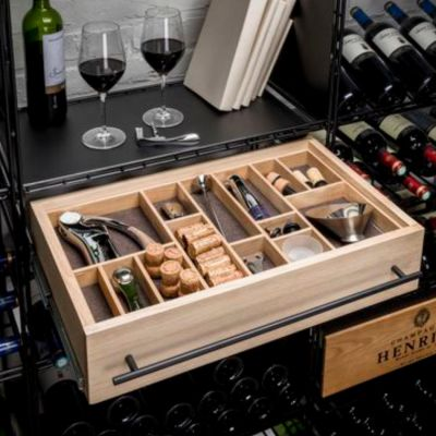 L'Atelier du Vin, Schublade für Regalsystem mit umfangreichem Weinzubehör, Vollauszug, 60 cm Breite, Eiche furniert