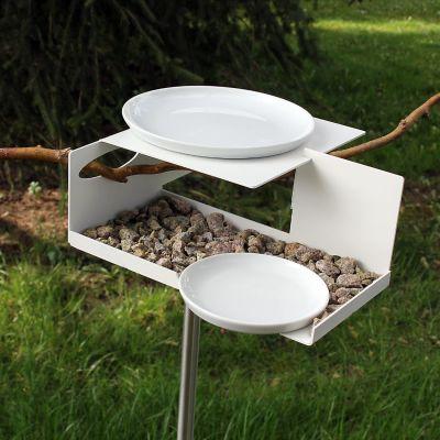 Opossum Design, Vogeltränke VT-1 mit Porzellanschalen, weiß