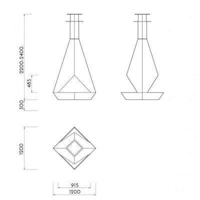 Glamm Fire, Hängekamin Bioethanol, Typ: EXODUS der Premiumserie, schwarz lackiert