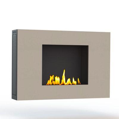 Glamm Fire, Wandkamin Bioethanol, Typ: ZEN der Serie EVO Plus, Front cremefarben lackiert