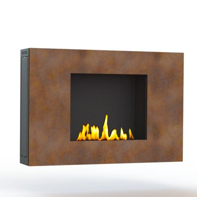 Glamm Fire, Wandkamin Bioethanol, Typ: ZEN der Serie EVO Plus, Front Cortonstahl mit Rostoptik